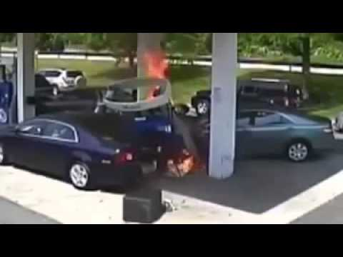 Car crash videos  2014 Car Crash Explosion Fire at Gas Station Caught on Tape Police Rescue