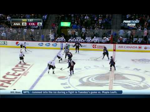 Ryan Getzlaf vs Steve Downie fight Anaheim Ducks vs Colorado Avalanche 10/2/13 NHL Hockey