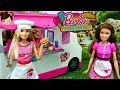 Barbie Food Truck Fast Food Work Routine Play Toy Food With Elsa Spiderman Miraculous Dolls