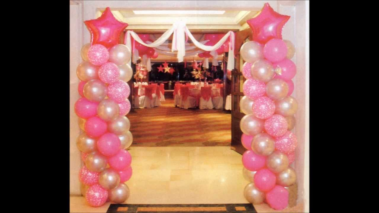 Decoracion con globos para 15 a os youtube for Adornos de quince anos