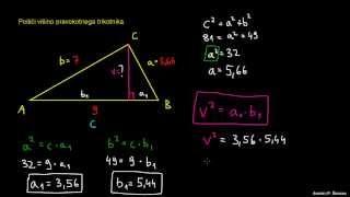 Pravokotni trikotnik – uporaba izrekov 1