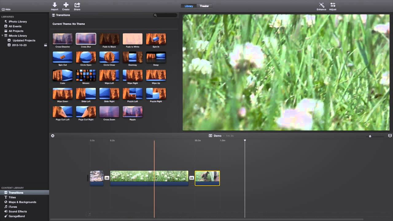how to create a new project in imovie