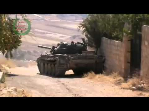 08 12 2013 FSA Mercenaries Firing A Tank Towards Rashideen, Aleppo