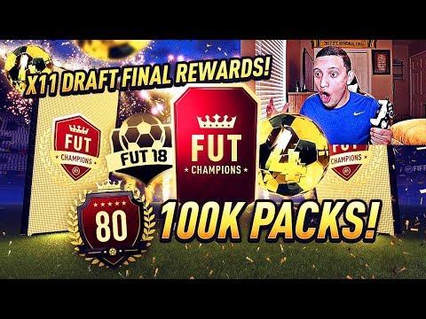 TOP 100 REWARDS + 11x FUT DRAFT FINAL REWARDS!! FIFA 18 ULTIMATE TEAM