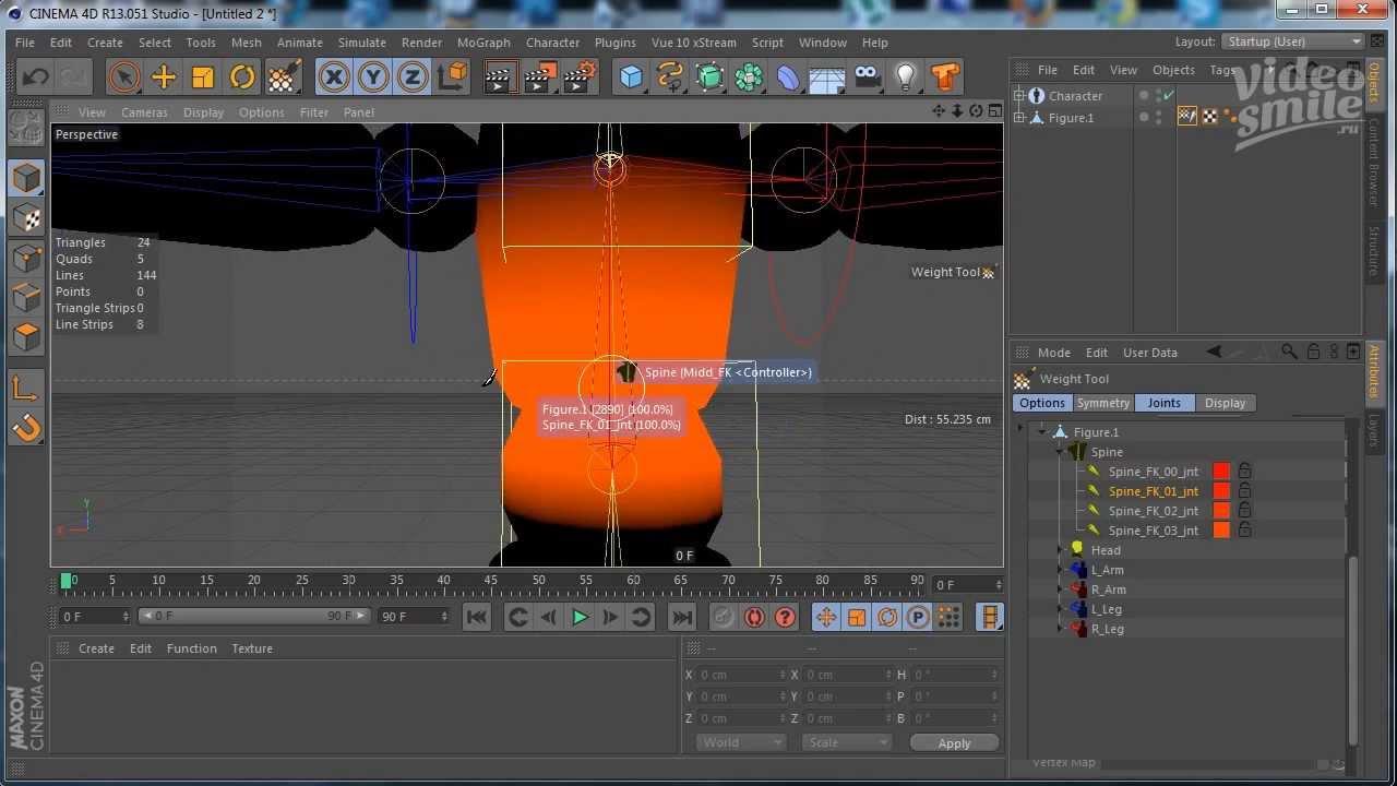 Скачать урок риггинг персонажа в cinema 4d