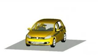 Volkswagen Golf kaza testi simülasyonu