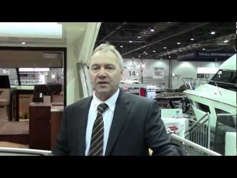 Prestige 450 Fly - luxury motor cruiser at London Boat Show 2013 (Debut)