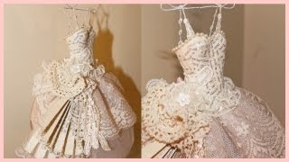 Shabby Chic Art Dress Paper / Mache And Lace