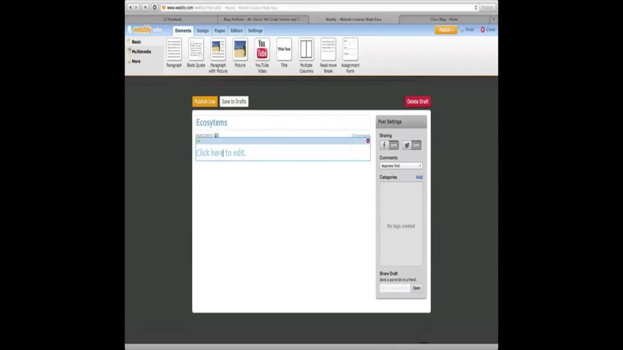how to add categoris weebly