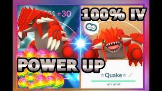 100% IV GROUDON POWER UP IN POKEMON GO | MASSIVE HIGH CP GROUDON & GYM BATTLES