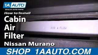 How To Install Replace Cabin Air Filter Nissan Murano 03