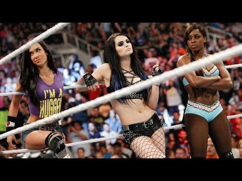 WWE RAW 03.30.15 Paige, AJ Lee & Naomi vs. Natalya & The Bella Twins