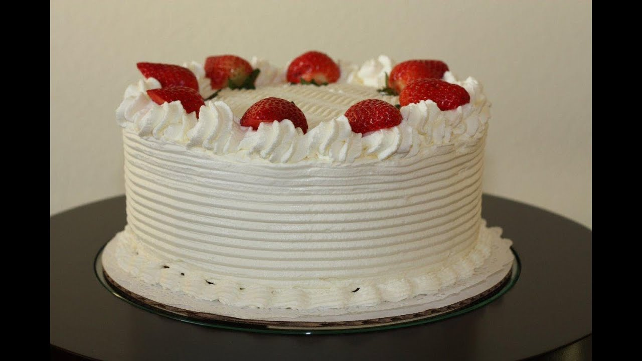 White cake with strawberries decoration - YouTube