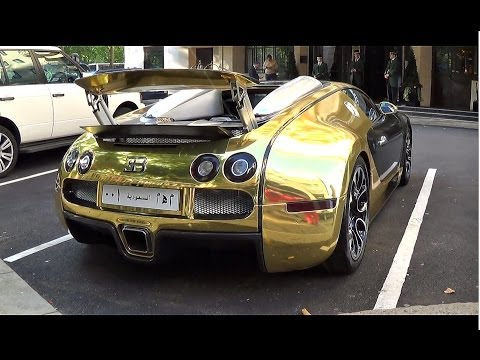 GOLDEN Bugatti Veyron Grand Sport REVS & 0-60mph LAUNCH!!