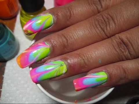 Poolside Neon Rainbow (#1) Water Marble Nail Art Tutorial - YouTube