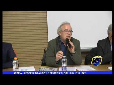 TG AMICA9 ANDRIA - LEGGE DI BILANCIO: LE PRIORITA' DI CGIL CISL E UIL