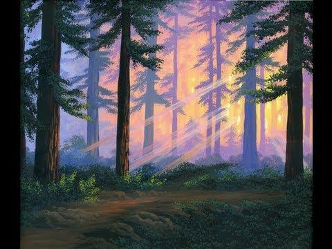 Jak malować 1 las o zachodzie słońca z akryl na płótnie