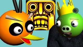 TEMPLE RUN Starring ANGRY BIRDS ♫ 3D Animated Game