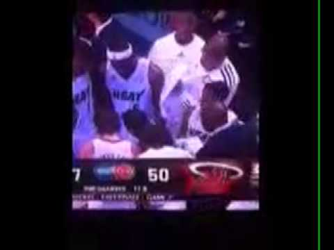 Shane Battier wiping sweat off Lebrons arm lol smh
