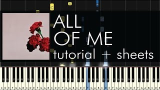 "How To Play ""All Of Me"" By John Legend Piano Cover And"