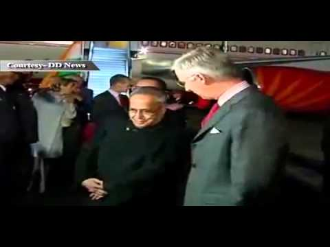 President Pranab Mukherjee in Belgium on a four-day visit