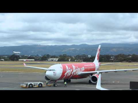 Air Asia X A330-300 pushing back from T1 at Adelaide Airport