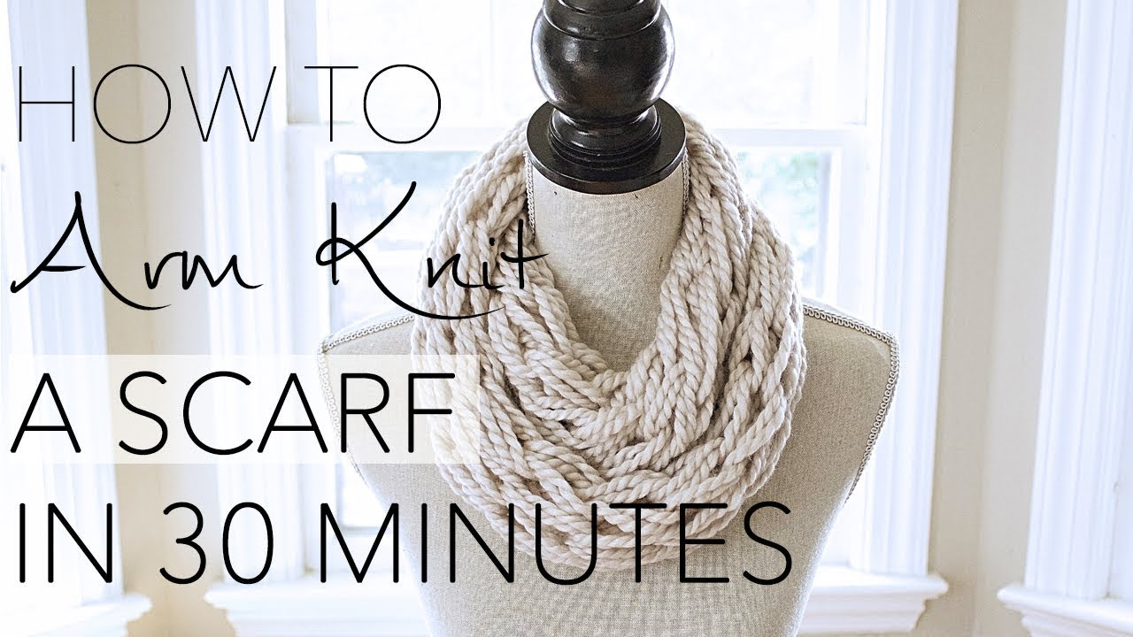 Arm Knitting Infinity Scarf : Diy arm knitting minute scarf with simply maggie