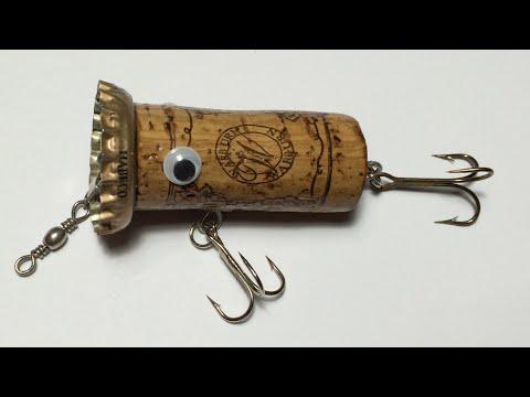 How To Make Topwater Lure From Wine Cork(4) DIY - Fishing Life Hacks - Lure Nút Rượu Nắp Bia