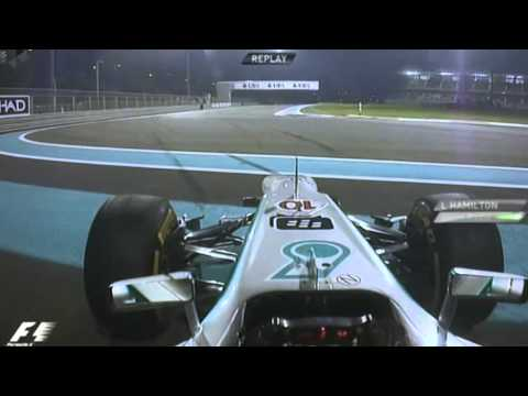 F1 2013 - Lewis Hamilton spins at Abu Dhabi [OnBoard][+Team Radio][HD]