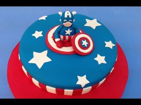 Tarta de fondant de Super heroe: Capitán America.Captain America cake
