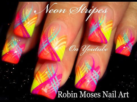 Neon Stripes Nail Art Design!