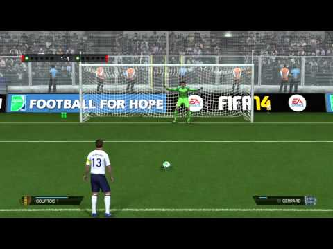 Thibaut Courtois penalty save Vs Steven Gerrard FIFA 14
