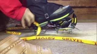 登山 アイゼンの装着方法 冬山 10本 12本爪