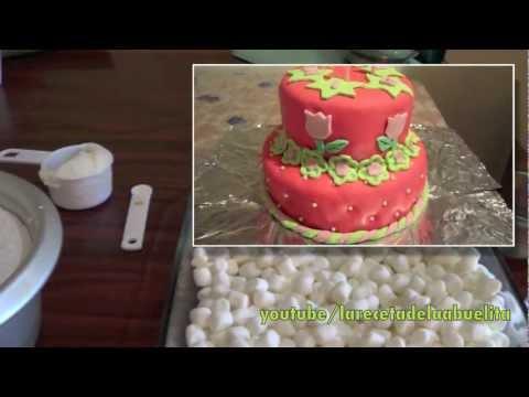 Receta de fondant (pasta de azúcar) con bombones ( malvaviscos )