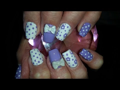 Acrylic Nails l Purple White l Nail Design