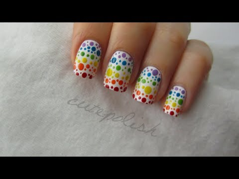 Rainbow Spotted Nail Art, MAKE YOUR OWN NAIL DOTTING TOOL: http://bit.ly/128uG3o WATER SPOTTED NAIL ART: http://bit.ly/Zq6IfX facebook.com/cutepolish | twitter: @cutepolish | instagra...