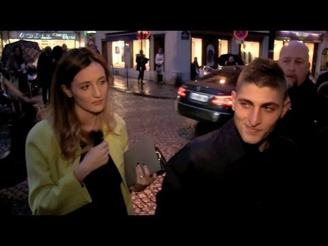 Marco Verratti and his wife and more at Valentino menswear fashion show in Paris