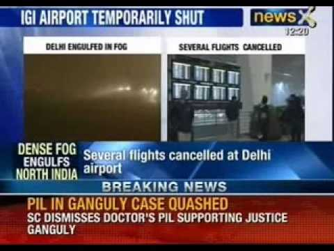 Dense fog envelopes Delhi, flights cancelled at IGI airport - NewsX