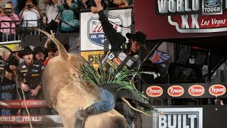WINNING RIDE: J.B. Mauney rides Bruiser for 92.75 points (PBR)