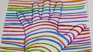 Dibujar una mano en 3D. Ilusión óptica