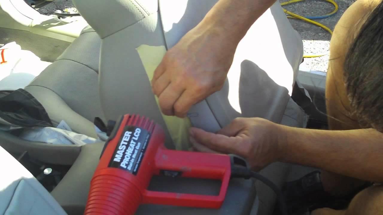 vinyl seat repair how to repair vinyl car seat with heat gun youtube