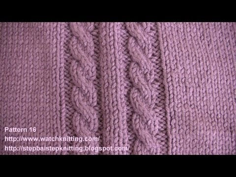 (Cable Stitch) - Embossed Patterns - Free Knitting Patterns Tutorial - Watch Knitting - pattern 16