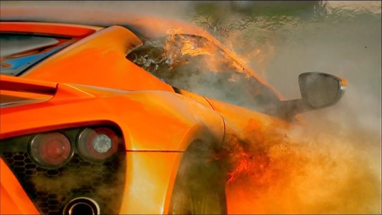 Top gear the zenvo st1 catches on fire youtube