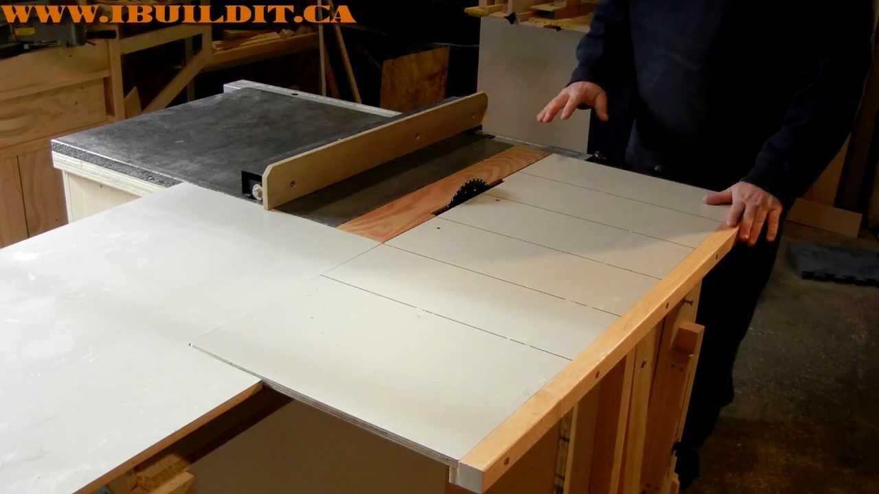 Sliding Tablesaw Homemade : Homemade Table Saw Sliding Table Demo - YouTube