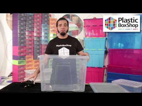 80lt Crystal Plastic Storage Box with Lid - Pallet Deal 150 Boxes