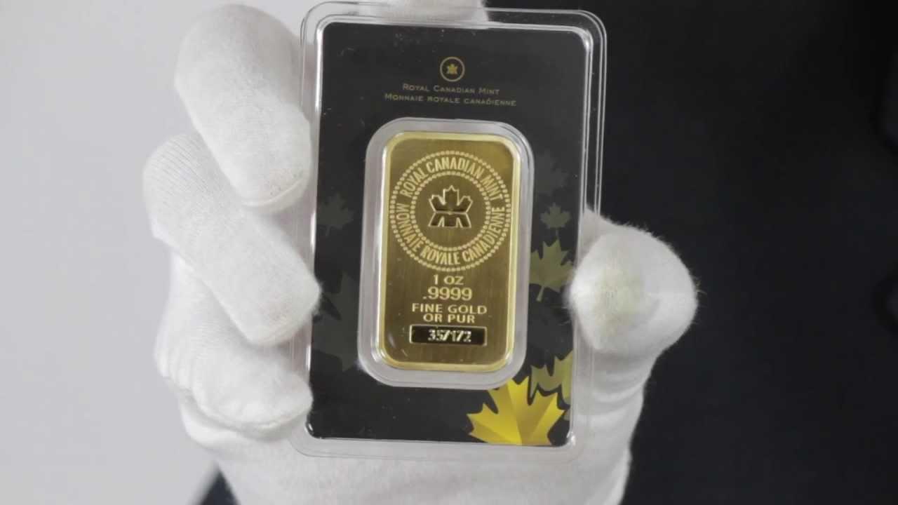 1 Oz Royal Canadian Mint Gold Bar 9999 Fine Goldmart