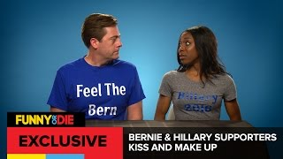 Bernie And Hillary Supporters Kiss