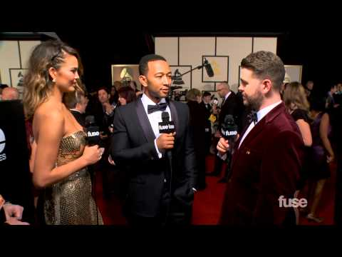 "John Legend & Chrissy Teigen Fight About ""Video Hoes""  - GRAMMY Red Carpet"