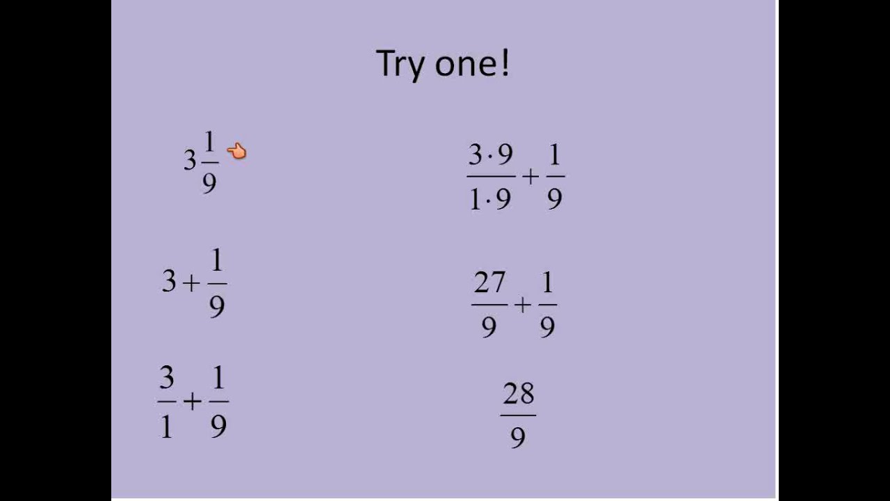 Mixed Numbers into Improper Fractions (Simplifying Math) - YouTube