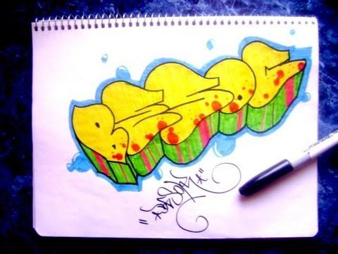 Como hacer un graffiti en papel youtube - Graffitis en papel ...